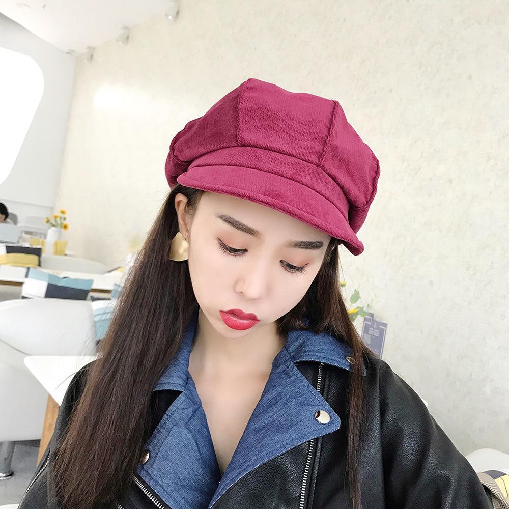 Compre Para Mujer Sombrero De La Boina Nuevas Llegadas 2018 Sombreros  Octagonales Para Mujer Moda Pana Vintage Boina Otoño Invierno Gorra Retro  Gorras A ... 7d89c9464cd
