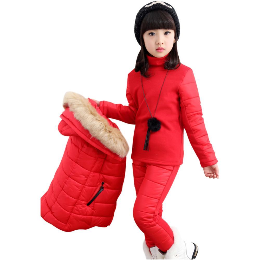 ab3f4c7ee8c0 Kids Parkas Coat Girls Puffer Jacket Set Snowsuit Hooded Down Vest ...