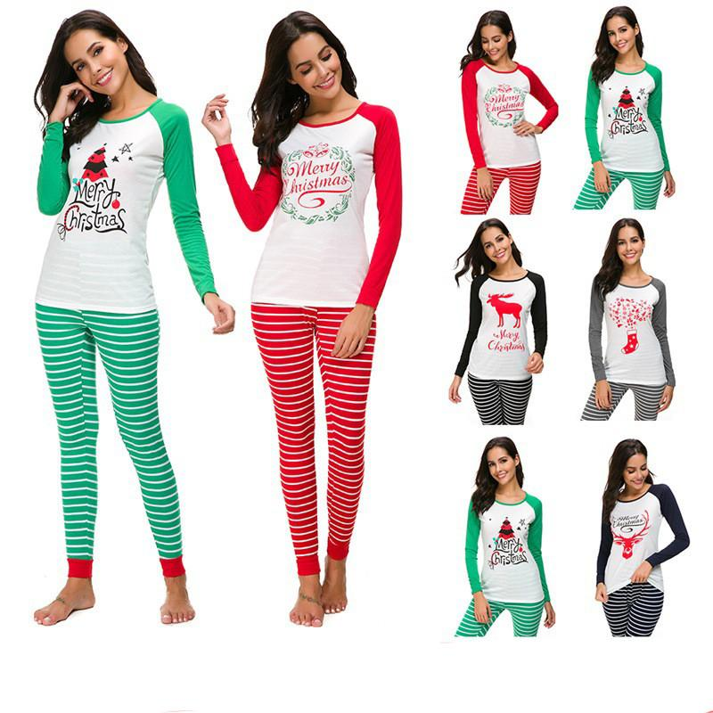 daacc55c9e633 Acheter Femmes De Noël Pyjama Set Père Noël Elk Imprimer Pull T Shirt À  Rayures Pantalon Costume À Manches Longues Homewear Automne Tenues De Noel  Vêtements ...