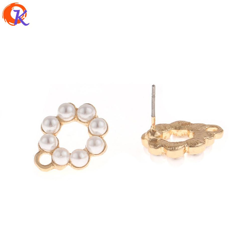 wholesale 50Pcs 12*16MM Jewelry Accessories/Earrings Stud/Hollow Round Shape/Imitated Pearl/Hand Made/Earring Findings
