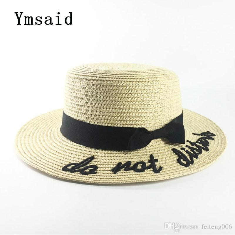 114980a28bade 2019 Ymsaid Korea Style Embroidery Letter Boater Hat Summer Ribbon Round  Bow Flat Top Wide Brim Straw Hat Women Fedora Panama  47518 From  Feiteng006