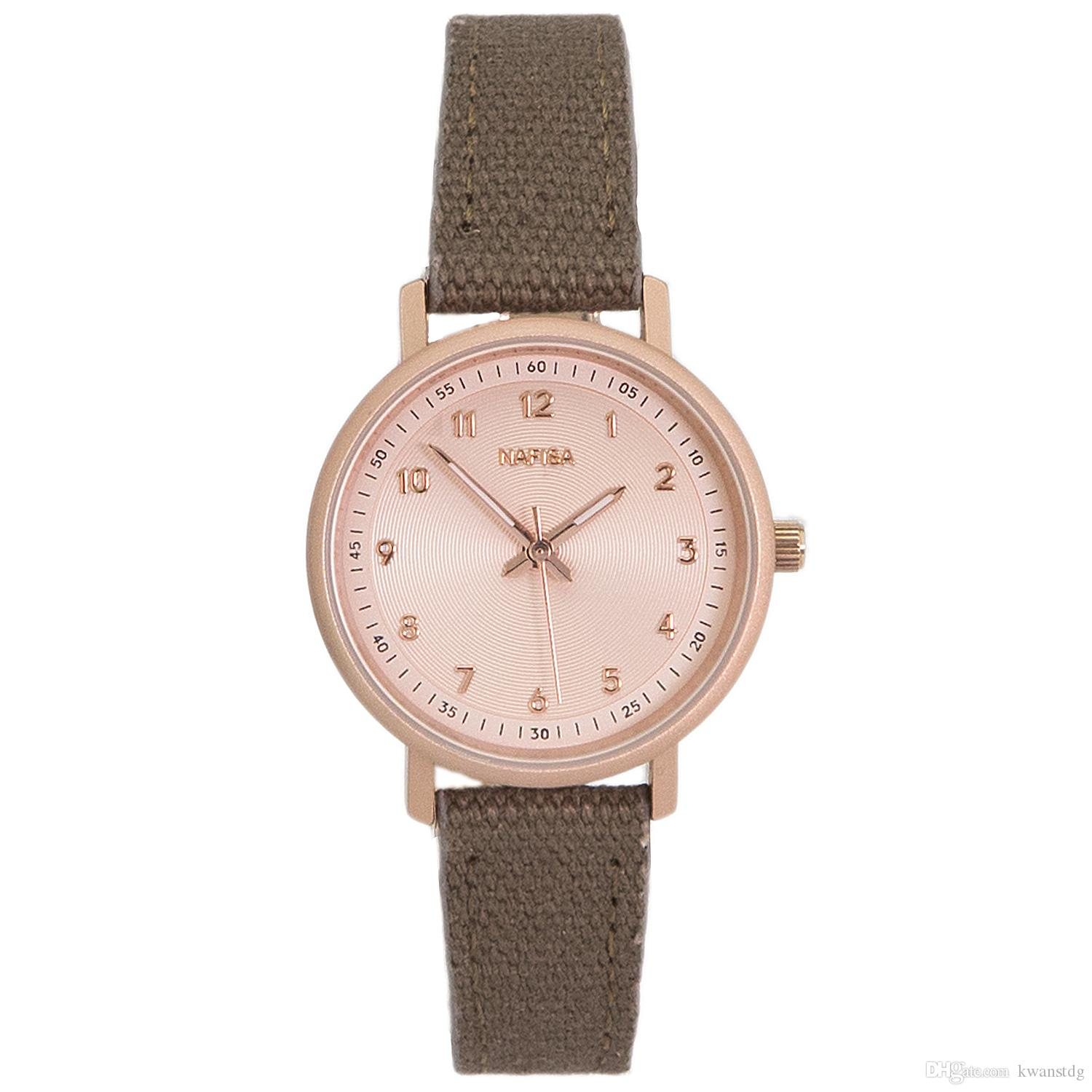 Nafisa da donna casual Dress Lady Fashion oro rosa color quarzo bicolore marrone cinturino in pelle color grigio orologio NA-0186