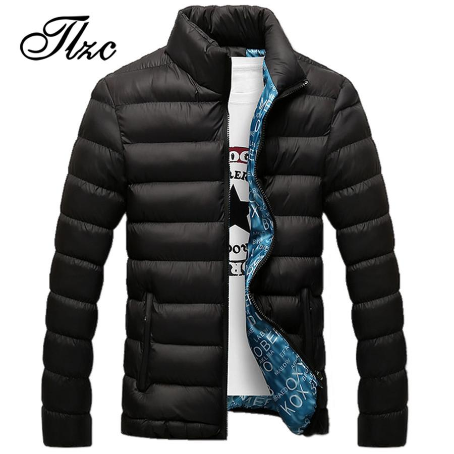 TLZC 2018 Men Fashion Winter Cotton Jacket Plus Size M-5XL Stand Collar Male Solid Parkas Mens Thick Jackets and Coats