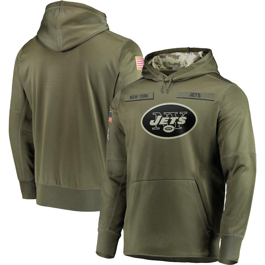 Nova York Camisola de futebol americano Jets Salute to Service Sideline Therma Performance Pullover Hoodie Olive