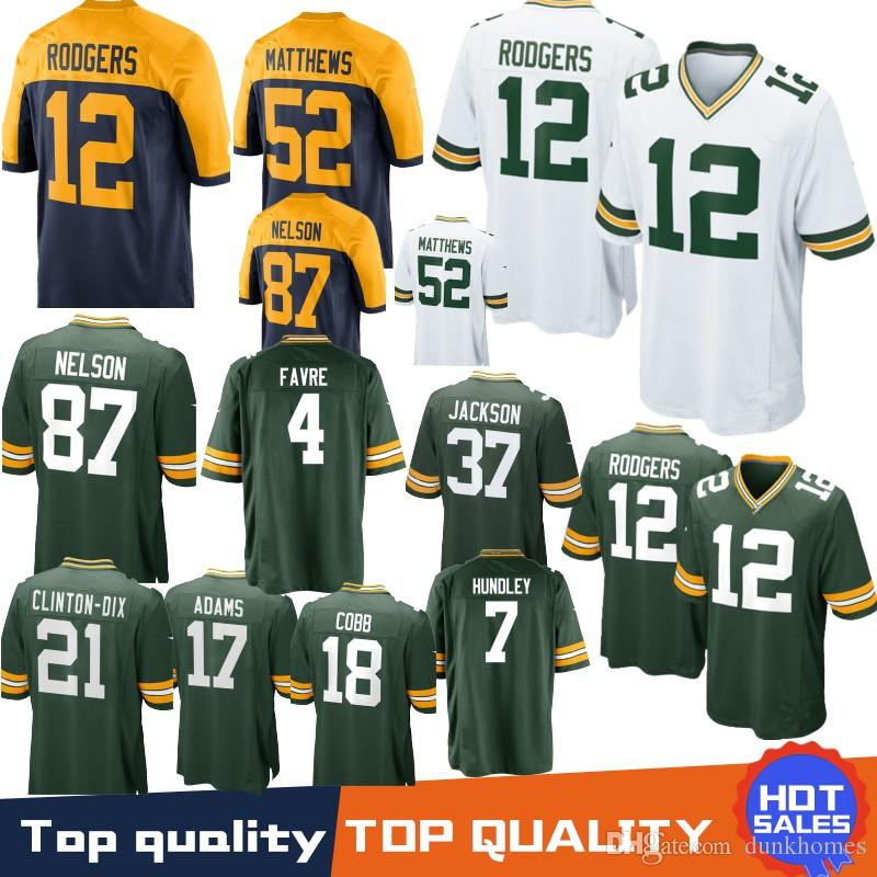 975e850d7 Stitched 12 Aaron Rodgers Green Bays Packers Jerseys 80 Jimmy Graham 23  Jaire Alexander 37 Jackson 4 Brett Favre 17 Adams 52 Clay Matthews Green  Bays ...