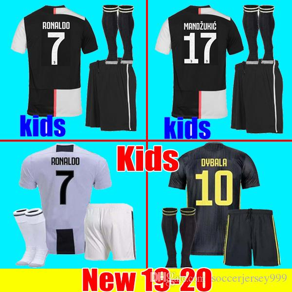 wholesale dealer 61cbf 31ec4 Juventus soccer Jersey kids Kit sets 2019 2020 RONALDO 18 19 20 DYBALA  PJANIC MANDZUKIC CHIELLINI boys football Shirt uniforms JUVE maglia