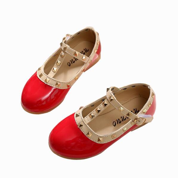 cheap for discount 93ec3 dbf8c Alle Größen 21-36 Mädchen Schuhe Neue 2019 Frühling Kinder Schuhe Mädchen  Nieten Princess Flat T gebunden Stil Mädchen Sommer Sandalen
