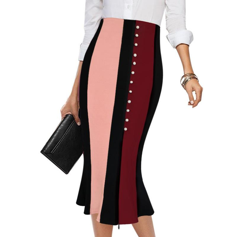 Vfemage Women Elegant Contrast High Waist Front Slit Work Business Party Cocktail Fishtail Mermaid Flared Pencil Midi Skirt 1177 Y19060301