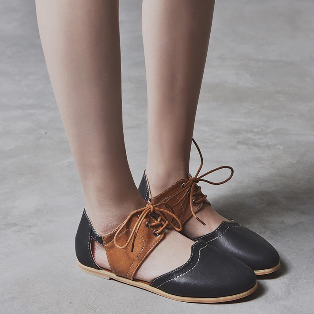 cf4ca0499bda Shoes Sagace Women Round Toe Rome Hit Color Hollow Lace Up Flat Single  Sandals Fashion New Woman 2019feb9 Shoes Uk Mens Chelsea Boots From Deal2
