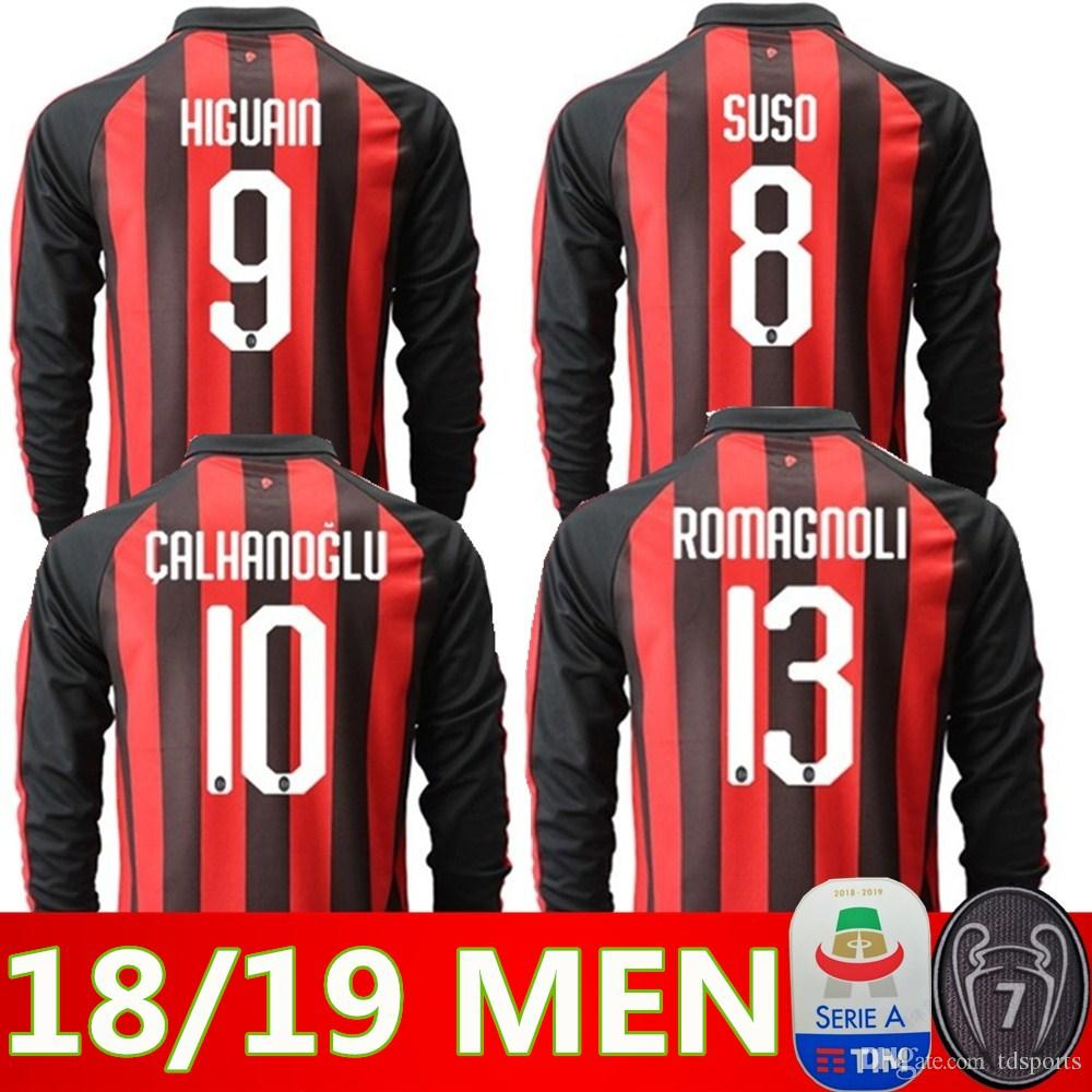... 2019 2018 2019 AC Milan Long Sleeves Soccer Jersey 18 19 BACCA Home b18631a3c