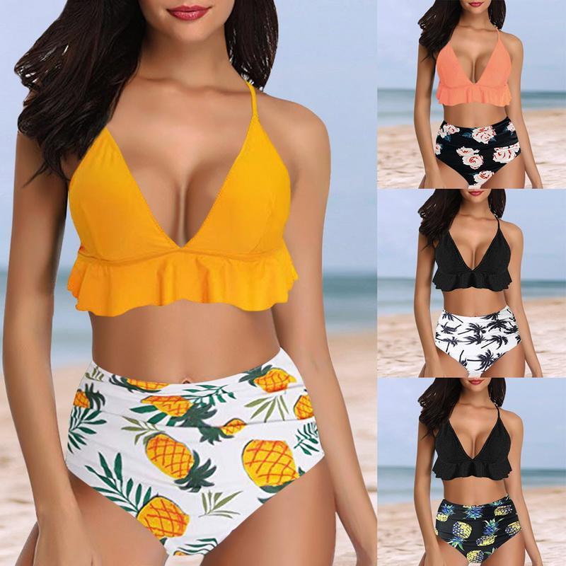 fd2c47899276 Las mujeres empujan hacia arriba el traje de baño de la colmena impresa  Bikini dos piezas de talle alto traje de baño Sexy Beach Wear 2019  Conjuntos ...