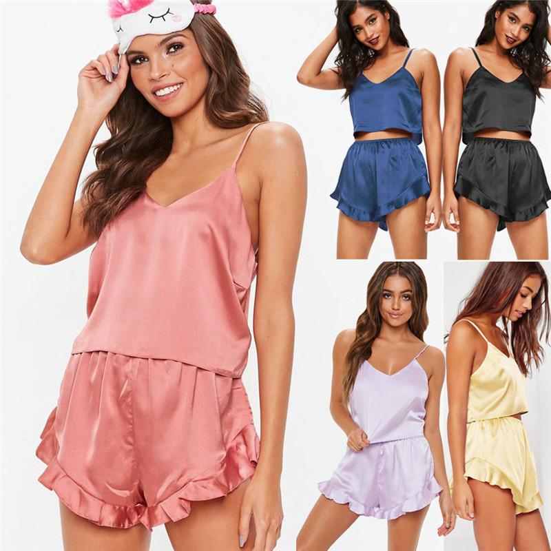 f31fdb3975520d 2019 Womens Sexy Satin Silk Pajama Sets Sleepwear Solid Color Sleeveless  Strap V Neck Crop Tops Ruffles Shorts Lady Outfits From Huweilan