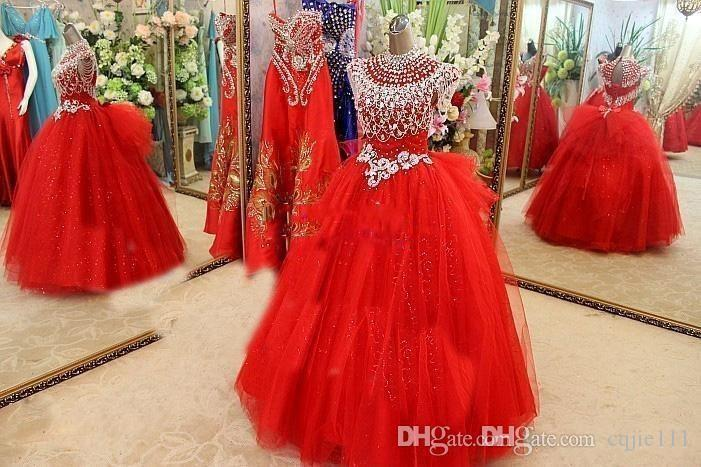 Cap Sleeve Beads Crystals Pageant Dresses Evening For Girls Tulle little girls Red Flower Girl Dress 2019 golden globe Girl Pageant Dresses