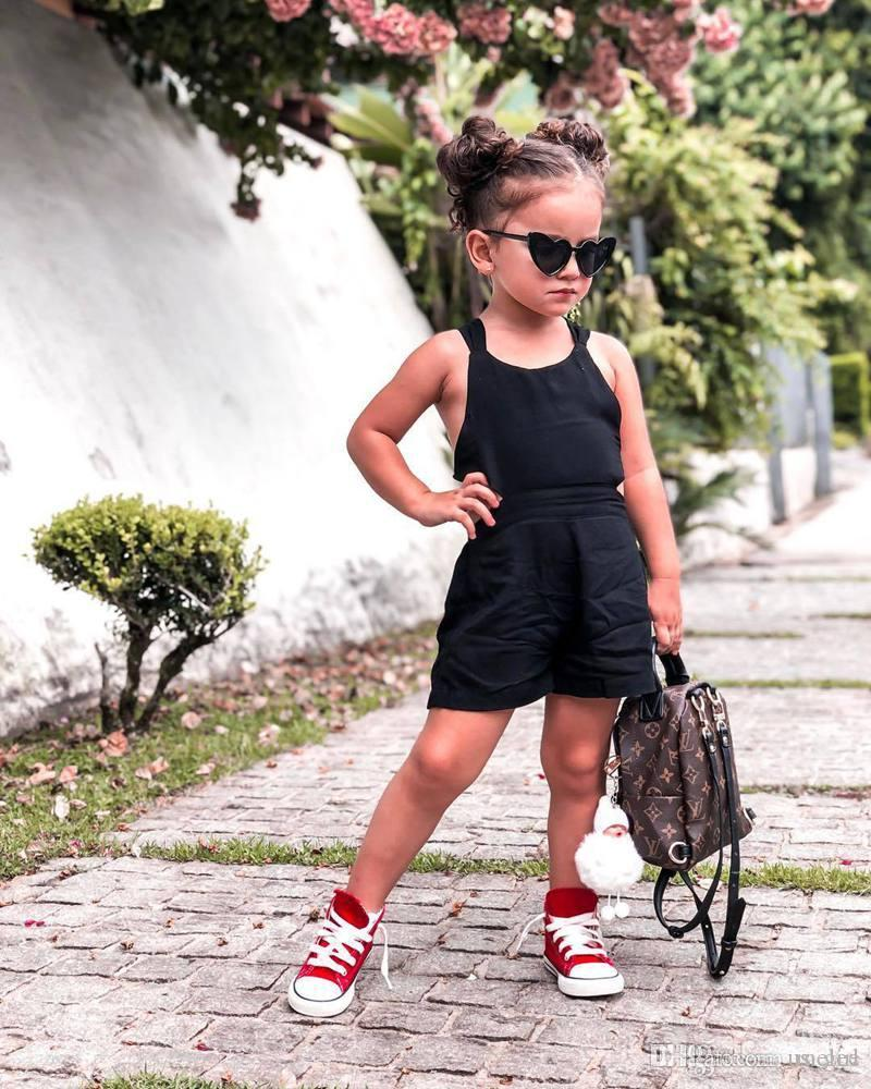 Black Kids backless Rompers dress Newborn Baby Girl Sling Romper Cross Flower Playsuit Jumpsuit Summer Outfits Clothes 1-6years free ship