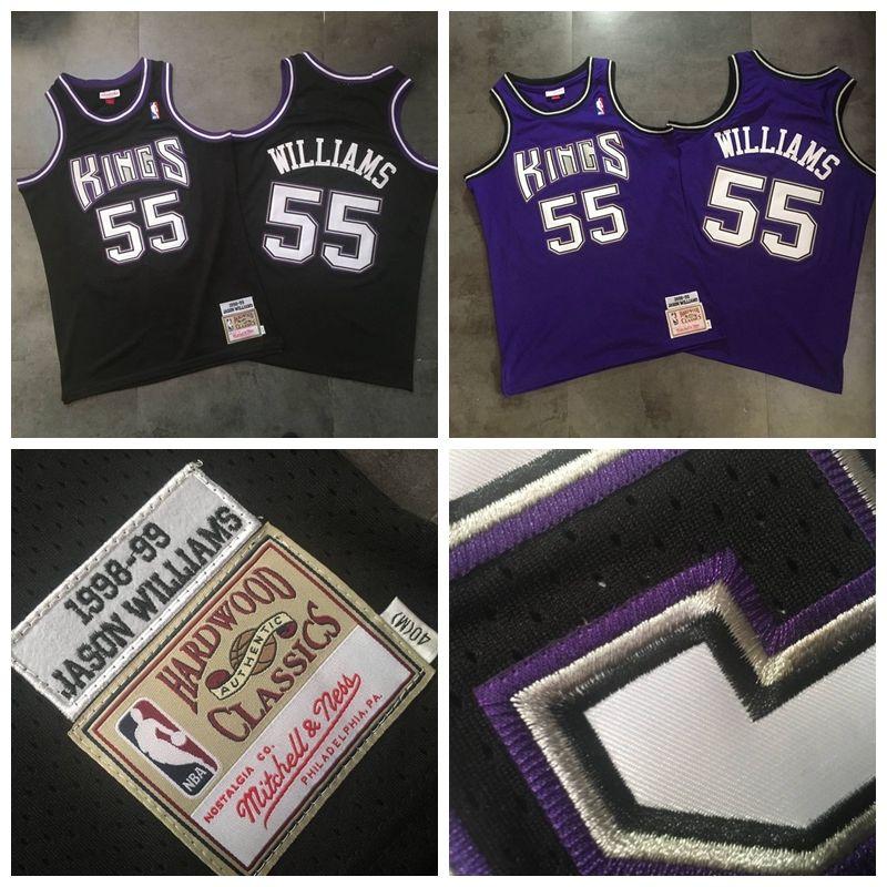 promo code 6e3a4 80ec6 Sacramento Basketball Kings 55# Jason Williams Jersey MITCHELL NESS Dense  AU Fabric Chocolate Black Purple Mesh Tight Embroidery Shirt
