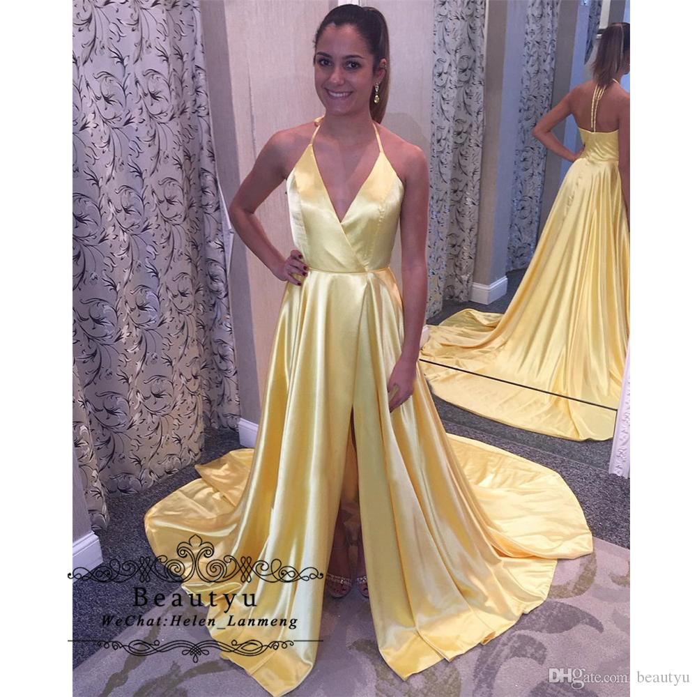 Yellow Long Prom Dresses 2019 Elegant A Line High Slit Halter Backless Girls Formal Party Prom Dress Vestidos de fiesta de noche