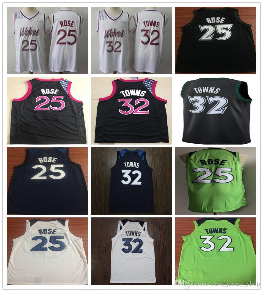 big sale dcf51 5d89f 2019 New Earned City Edition 25 Derrick Rose Jerseys White Purple Black  Blue White Green 32 Karl-Anthony Towns Jersey 22 Andrew Wiggins