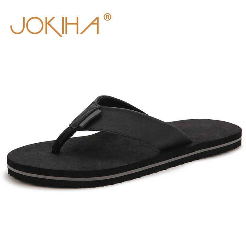 2c3149888978 2019 Summer New Men S PU Leather Flip Flops Brand Beach Slippers For Men  Black Brown Blue Sandals Slides Shoes Men Male Over The Knee Boots Womens  Boots ...
