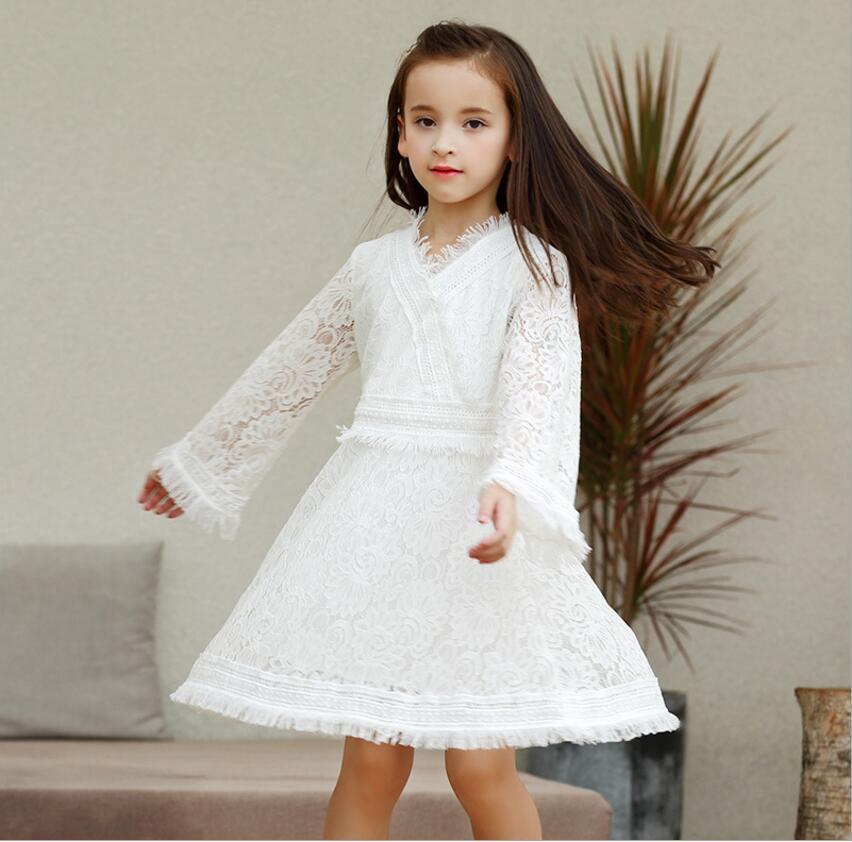 f540a2ce31a1a Acheter Robes De Petite Fille 2019 Mode Blanc Robe De Soirée Pour Enfants  Boutique Robe De Princesse Robe De Fille Douce Robes En Dentelle Vêtements  Enfants ...
