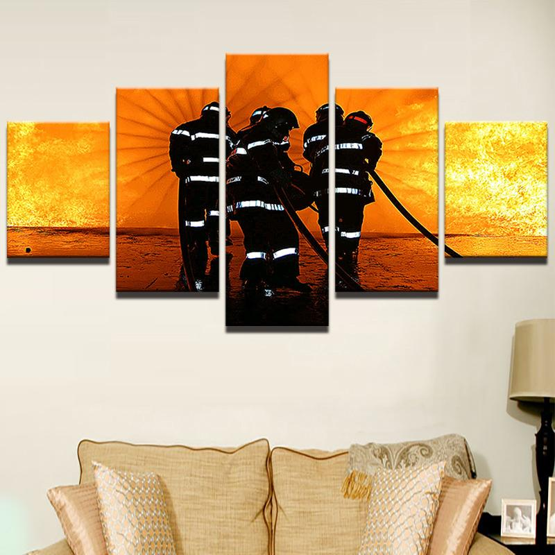 Modern Pictures Room HD Printed Poster Home Decor 5 Pieces Wall Art Unframe Fireman Firefighting Landscape Canvas Painting