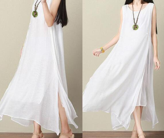 c07fea9f47a Summer Womens Dresses Sleeveless White Beach Dress Linen Plus Size ...