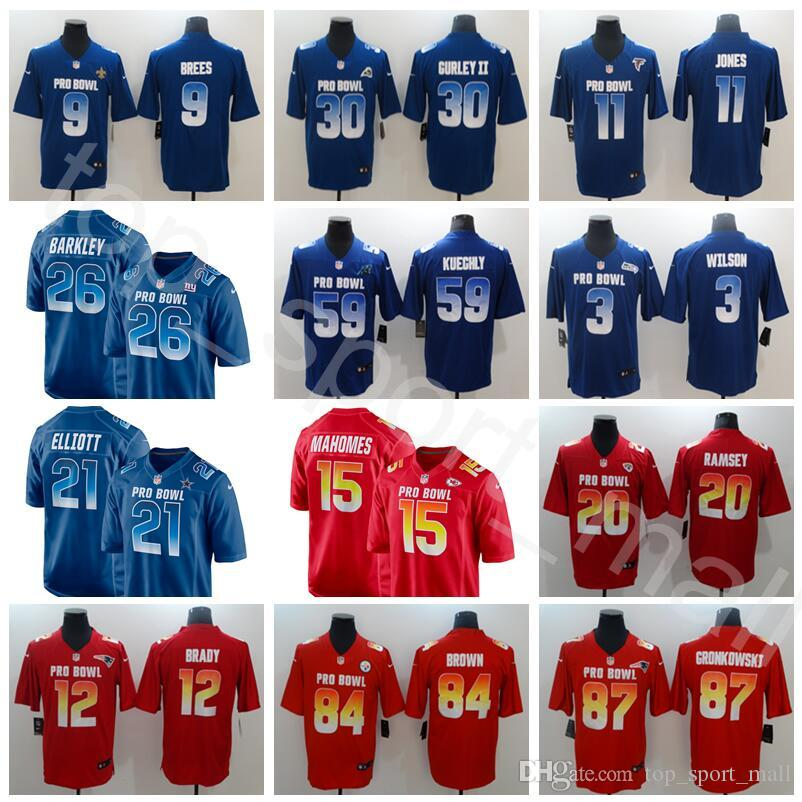 classic fit dbb4c 94af4 2019 Pro Bowl Jersey Tom Brady Patrick Mahomes Antonio Brown Drew Brees  Todd Gurley II Saquon Barkley Ezekiel Elliott Rob Gronkowski Jones