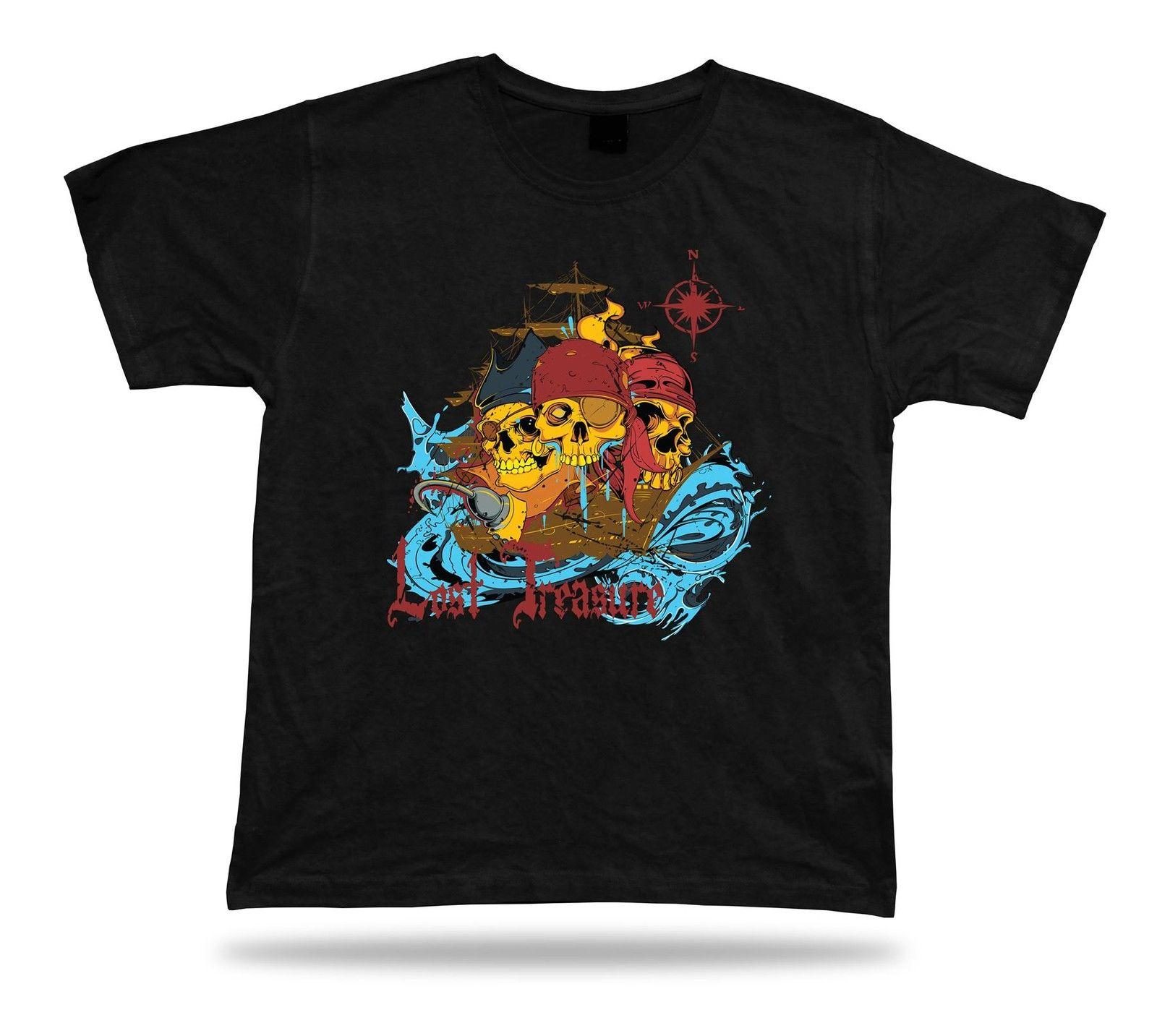 Tshirt Tee Shirt Birthday Gift Idea Pirate World Skull Ship Sea Lost Treasure Cool Tees Graphic T From Goodquality73 1645