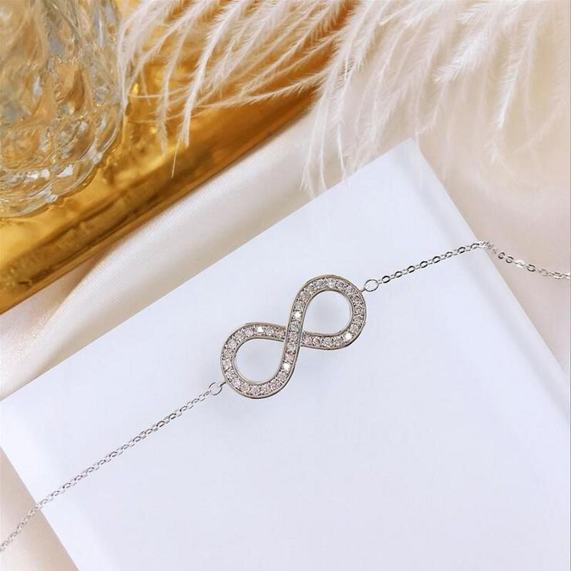Luxury Jewelry Real 925 Sterling Silver Pave White Clear 5A Cubic Zirconia Lucky Women Wedding Letter Bracelet Gift