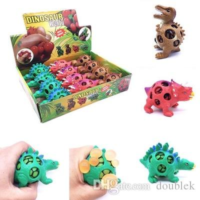 Funny Squishy Dinosaur Grape Ball Vent Mesh Ball Squeeze Decompression Children's Toys Beads Dinosaur Autism Mood Squeeze Ball free shipping