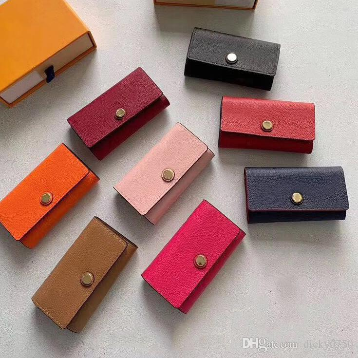 New Wholesale top quality multicolor leather key holder short designer six key wallet women classic zipper pocket men design key chain