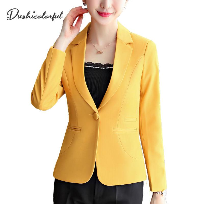 Dushicolorful woman blazer short 2019 formal jackets coat campera mujer office ladies elegant yellow blaser black tops plus size