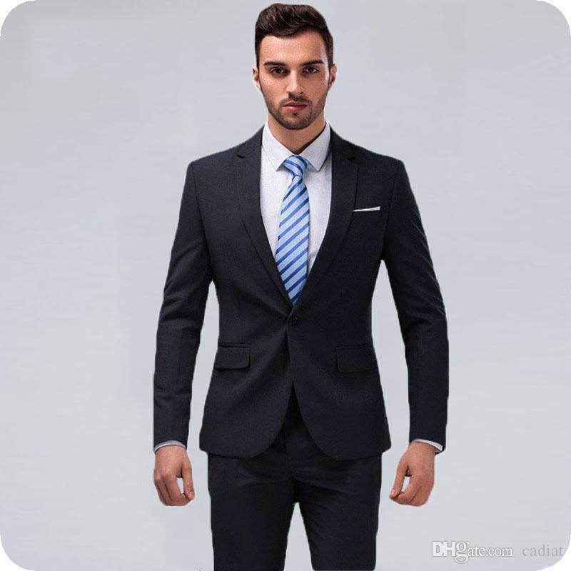af1b0a9b24 Slim Fit Gris oscuro Trajes de hombre Elegante Casual Business Chaqueta de  hombre de oficina Hombre de la oficina 2Piezas Último abrigo Pantalones  Diseños ...