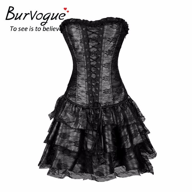 3f83fc2eafe 2019 Burvogue Sexy Steampunk Corsets And Bustiers Burlesque Gothic Lace  Steampunk Corset Dress Plus Size Costume Floral Bustier DressQ190401 From  Shen05