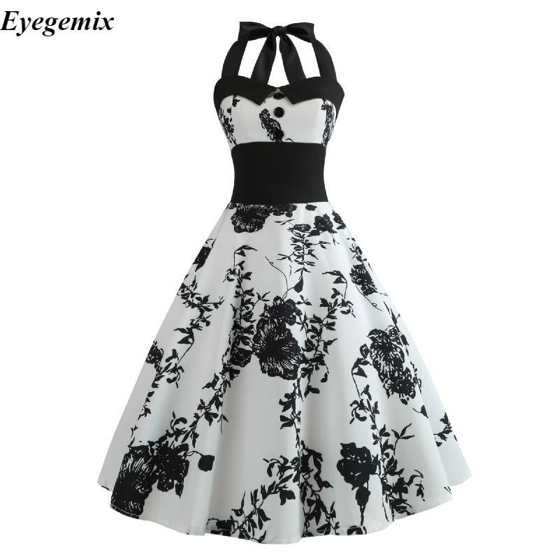 78ac2df2e07 2019 Summer Dress 2018 Casual Floral 50s 60s Retro Vintage Dress Women Robe  Rockabilly Swing Pinup Vestido Sexy Elegant Party Dresses Y19012201 From  Tao02