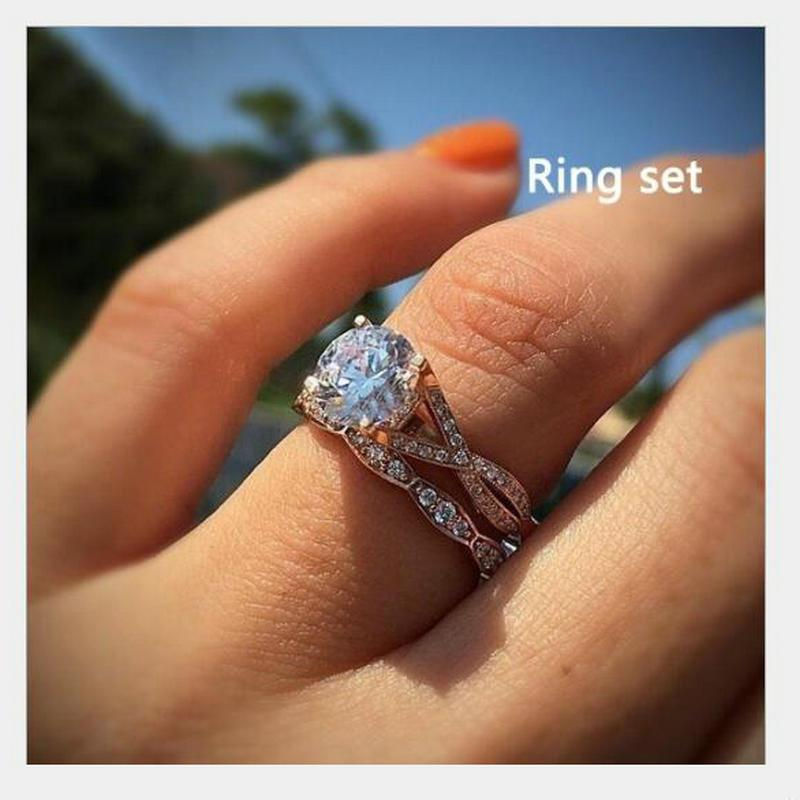 European And American Round Simulation Engagement Ring Women S Plated Rose  Gold Ring UK 2019 From Zhoukoucharm 094efd1c94