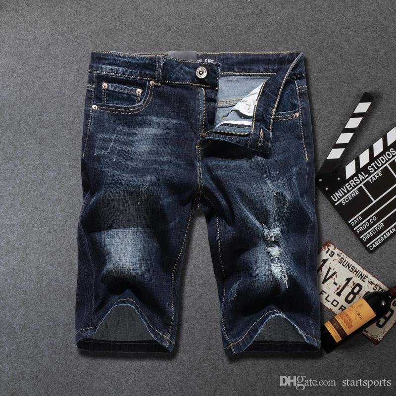 32ccbbf7303 Black Blue Color Vintage Fashion Men's Jeans Shorts Summer Streetwear  Elastic Short Ripped Jeans Classical Hip Hop Shorts Men #346247