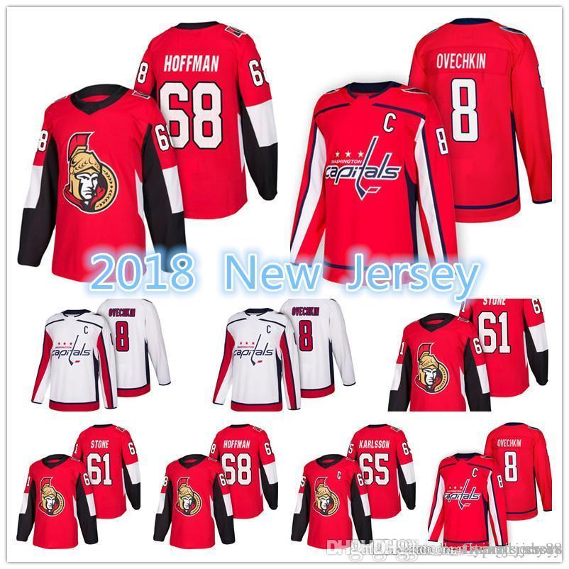 2018 New Washington Capitals Ottawa Senators Jersey Men's # 8 Alex Ovechkin 61 Mark Stone 65 Erik Karlsso 68 Mike Hoffman Jerseys