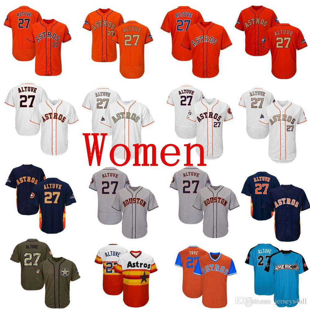 the best attitude f7242 b9298 Womens Astros Baseball Jerseys 27 Jose Altuve Jersey Navy Blue White Orange  Grey Gray Gold Green Salute