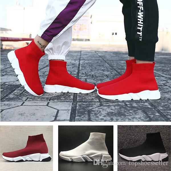 2019 Best Quality Speed Trainer Black Designer Sneakers Men Women Black Red Casual Shoes Fashion Socks Sneaker Top Boots Size 36-47