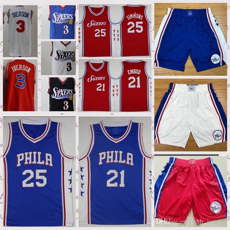 4aefa499daa Philadelphia 21 Joel Embiid 76ers 25 Ben Simmons Jersey 20 Markelle ...