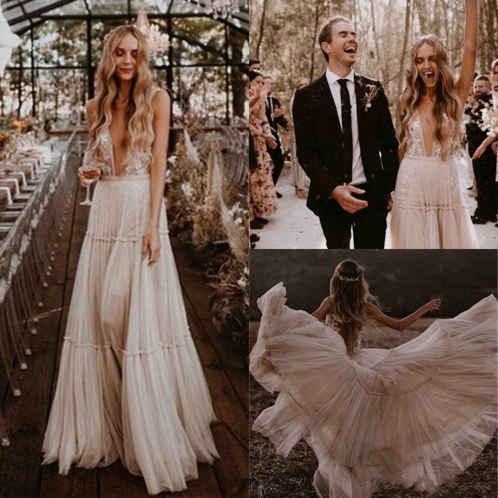 2019 Summer Boho Wedding Dresses Garden Beach Vintage Lace Bohemian Wedding Gowns Sexy Backless Deep V Neck Vestido De Noiva