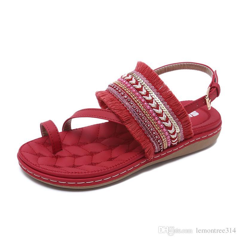 a5e4994564bd Womens Bohemian Platform Sandals Clip Toe Tassel Beach Sandal Beading Buckle  Strap Sandals Wedges Soft Casual Shoes DK35 Boys Sandals Dansko Sandals  From ...