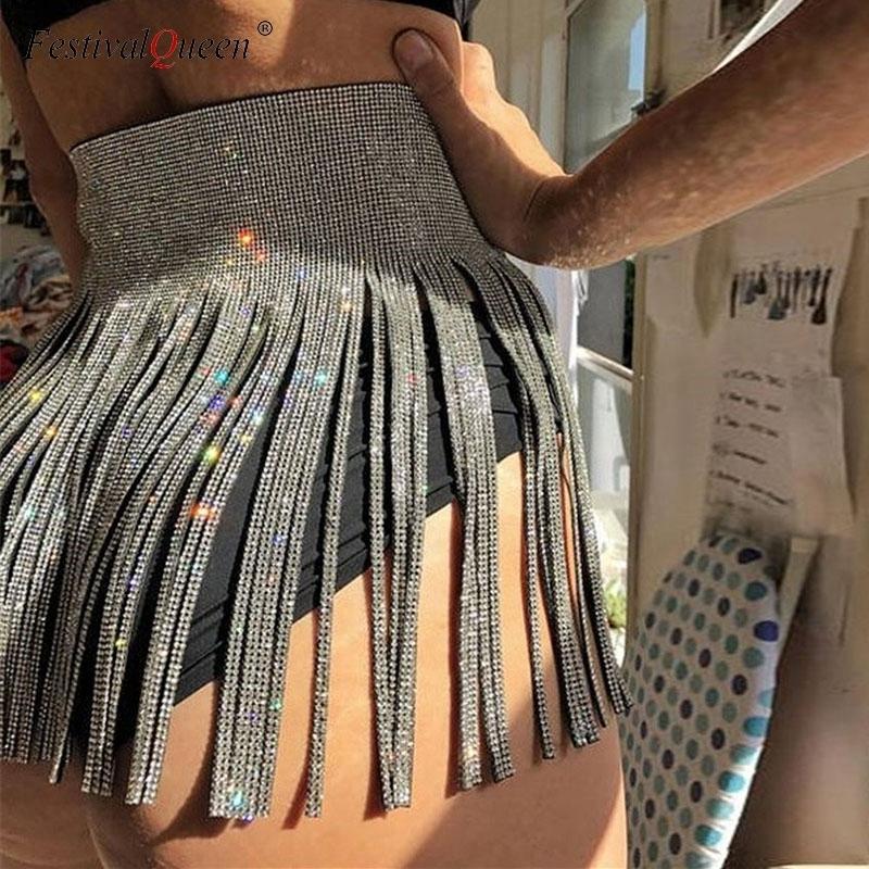 c5502c9f3 2019 Mujeres Sexy Lentejuelas Borlas Faldas Señoras Diamante Brillante  Rhinestone Vendaje Cintura Alta Mini Falda Oro Plata Negro MX190714