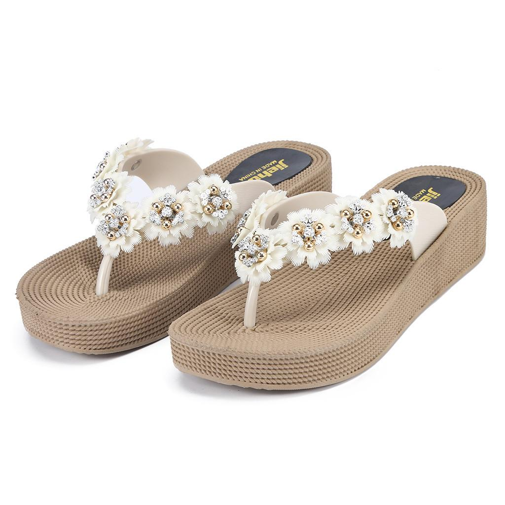 Women's Breathable Lightweight Beading Sandals Thick Bottoms Wearable Flower Flip Flops Sandals Female Flat Shoes Casual Sapatos