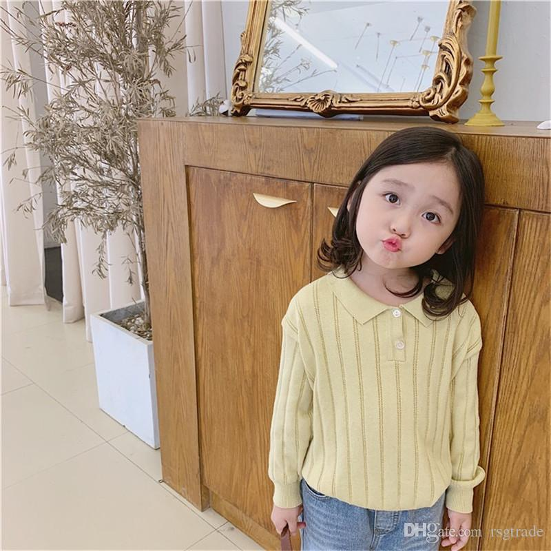 Newest 3Colors INS Designs Kids Girls Cardigan Fall Front Buttons Fashons Cotton Turn-down Collar Children Girls Clothing Sweaters Coat