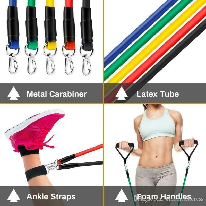 ABD Stok DHL / Set Doğal Kauçuk Lateks Spor Direnç Gruplar Egzersiz Tüpler Pratik Elastik Eğitim Halat Yoga Çekme Halat Pilatus