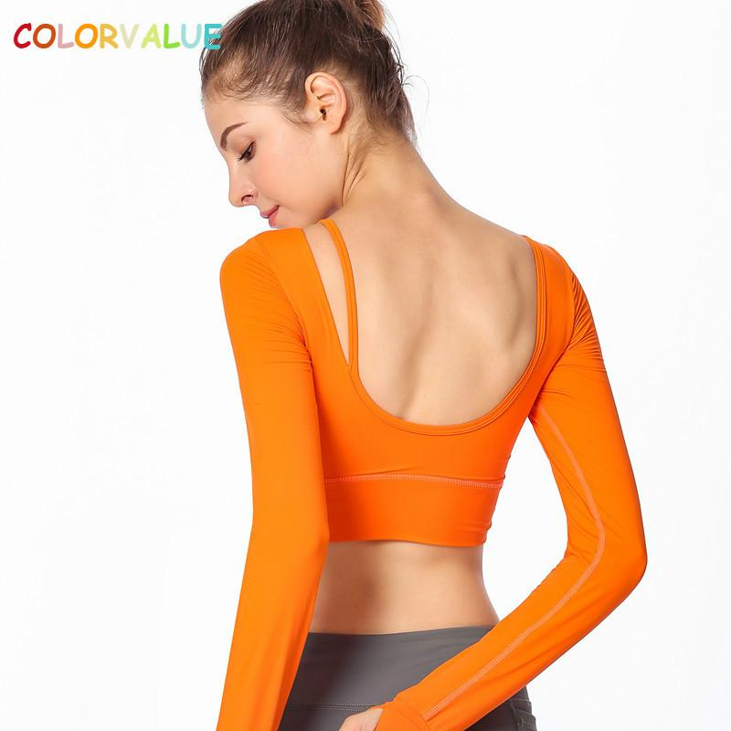 Colorvalue New Autumn Plain Padded Fitness Crop Top Women Anti-sweat Slim Fit Workout Gym Long Sleeve Shirts with Thumb Holes
