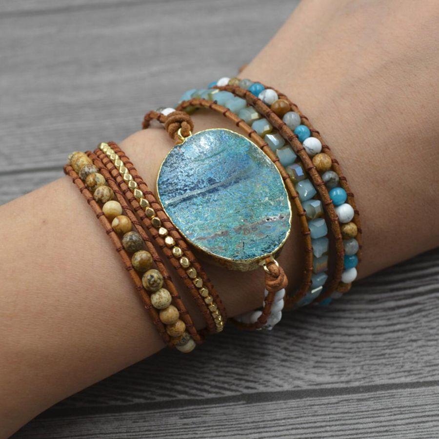 Handgemachte Natürliche Vergoldete Stein Charm Ocean Damen Leder Armband Boho Wrap Armband