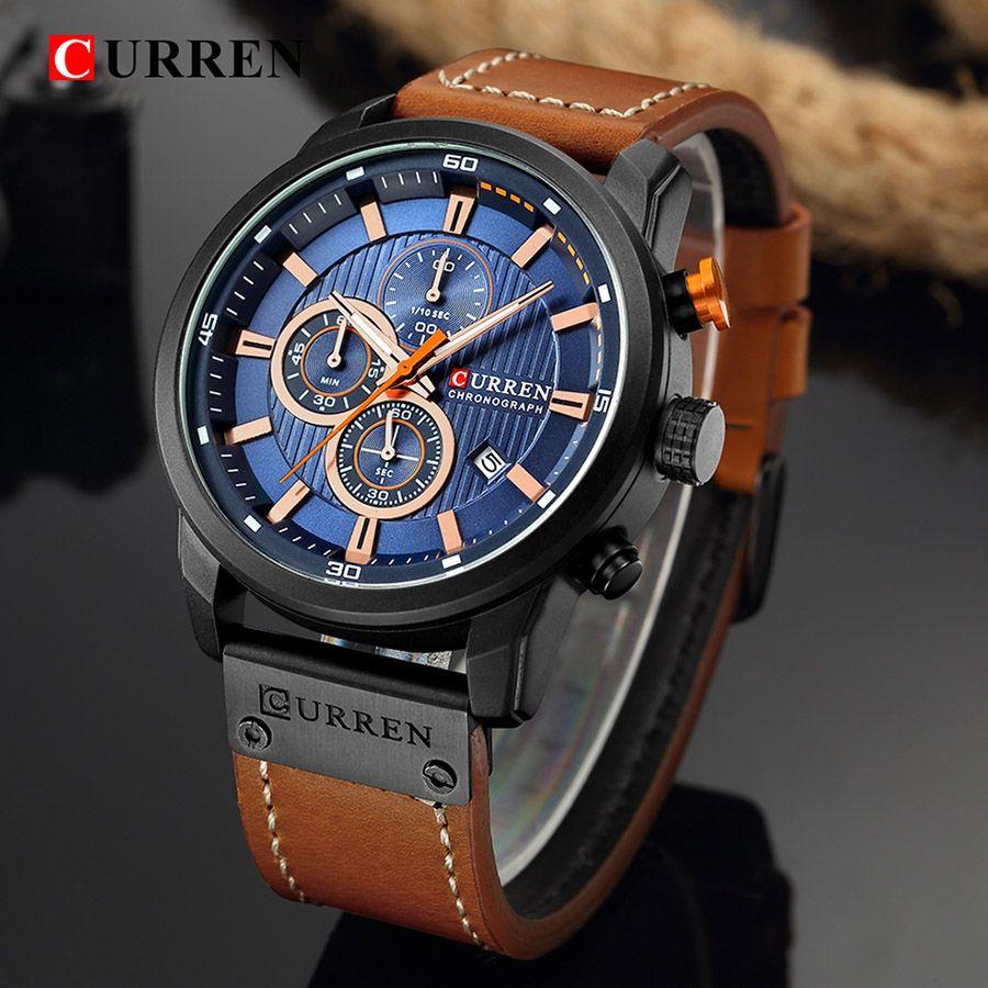2bd8fd0f31de Compre CURREN 8291 Relojes Para Hombre De Primeras Marcas De Lujo Azul Hombre  Reloj Hombre Relojes De Cuarzo Hombres Reloj CURREN Reloj De Pulsera  Hodinky ...