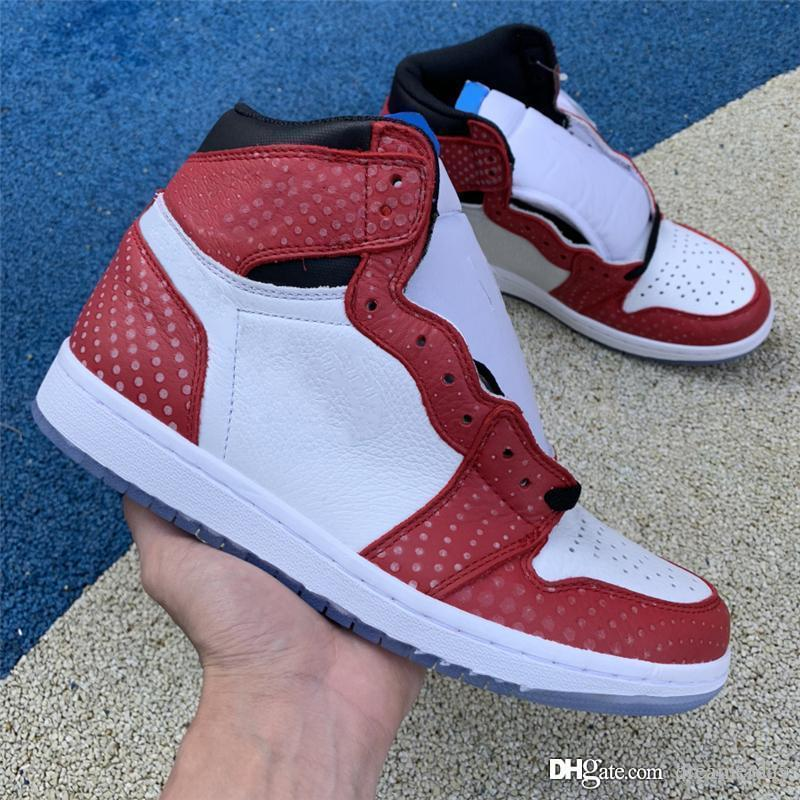 c0ef262adb8f 2019 2018 New Authentic 1 High OG Origin Story Chicago Crystal 1S Gym Red  Spider Man Basketball Shoes Sports Sneakers With Box 555088 602 From  Dreamerday